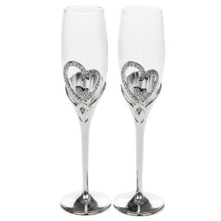 Crystal Heart Champagne Flutes